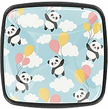 Pandas Schrankknäufe aus Glas, Schubladenknäufe,