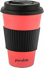 pandoo Kaffeetasse zum Tragen 450 ml ro