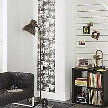 Panels Tapete in weiß und schwarz mit Schriftzug und Bilder New York L50x H280. Street Art-68270090