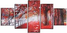PANGUN 5 Cascade Herbst Roten Baum Abstrakt