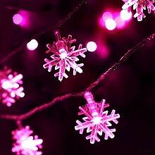 PANGUN Weihnachten Schneeflocke Led Taschenlampe String Festival Hochzeit Dekoration Wasserdicht Batterie Betrieben-5M Pink