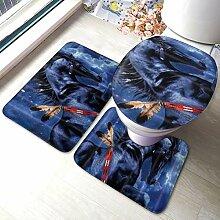 PANILUR Mode Badgarnitur Badematten Set 3,Blaues