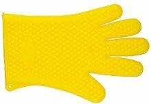 pannow hitzebeständig Silikon Grill Ofen Handschuhe mit Fingern Wasserdicht, hitzebeständig bis 428°F/220°C rutschfest Baumwolle gesteppt Küche Handschuhe, Handschuhe für Kochen, Grillen, Backen, Grill Topflappen 1Paar, Silikon, gelb, L