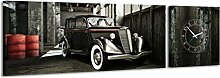 Panorama Uhr Old Timer Old School Auto Vierziger Vintage elegante Klasse Wanduhr
