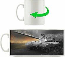 Panzer mit Lampe schwarz/weiß, Motivtasse aus weißem Keramik 300ml, Tolle Geschenkidee zu jedem Anlass. Ihr neuer Lieblingsbecher für Kaffe, Tee und Heißgetränke.