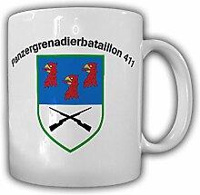 Panzergrenadierbataillon 411 PzGrenBtl Panzergrenadier Bataillon Viereck Wappen Abzeichen Bundeswehr Grenadier Einheit - Tasse Kaffee Becher #15321