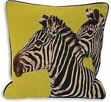 Paoletti Twin Zebra Lime Cushion Cover 45 x 45