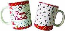 Paolo Chiari Schneemann-Tasse mit Weihnachtsmotiv,