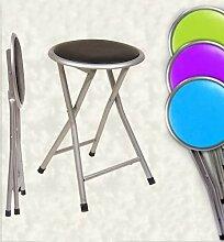 Paolo Rossi Hocker, Klappstuhl Metall alufarben mit Sitz weich; Höhe 44 cm, farblich sortiert; Ideal für ein Picknick, Camping Wohnwagen, Wohnwagen