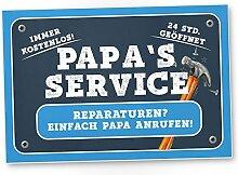 Papa's Service - Kunststoff Schild (blau),