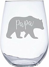 Papa Bär von inkponyart 17Unze Gravur Weinglas