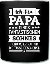Papa Eines Fantastischen Sohnes Tasse einfarbig von Spreadshirt®, Schwarz