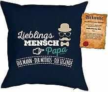Papa Kissen Sprüche Vater Kuschelkissen - Väter Sprüche Kissen : Lieblingsmensch Papa ... Die Legende -- Kissen ohne Füllung + Urkunde -- Farbe: navyblau