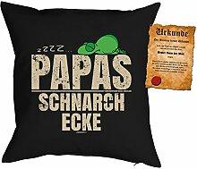 Papa Kissen Sprüche Vater Kuschelkissen - Väter Sprüche Kissen : zzzz… Papas Schnarch Ecke -- Kissen mit Füllung + Urkunde -- Farbe: schwarz