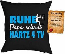 Papa Kissen Sprüche Vater Kuschelkissen - Väter Sprüche Kissen : Ruhe Papa schaut Hartz 4 TV -- Kissen ohne Füllung + Urkunde - Farbe: schwarz