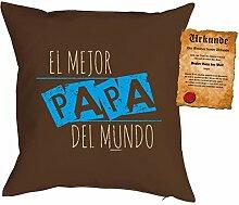 Papa Kissen Sprüche Vater Kuschelkissen - Väter Sprüche Kissen : El mejor Papa del mundo -- Kissen mit Füllung + Urkunde -- Farbe: braun