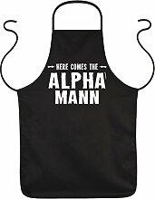 PAPA VERSTEHER Vatertagsgeschenk Idee ALPHA MANN - Männer Fun Grillschürze - Geschenke zum Vatertag Geburtstag Weihnachten - Schürze Latzschürze schwarz : )