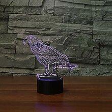 Papagei 3D visuelles Licht Farbe Illusion Touch