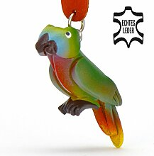 Papagei Peter - Spielzeug Schlüsselanhänger Figur aus Leder in der Kategorie Kuscheltier / Stofftier von Monkimau in grün - Dein bester Freund. Immer dabei! - ca. 5cm klein