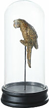 Papagei unter Glasglocke, goldfarben gealtert und