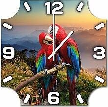 Papageien, Design Wanduhr aus Alu Dibond zum Aufhängen, 48 cm Durchmesser, schmale Zeiger, schöne und moderne Wand Dekoration, mit qualitativem Quartz Uhrwerk