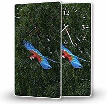 Papageien - Lautlose Wanduhr mit Fotodruck auf Polycarbonat | geräuschlos kein Ticken Fotouhr Bilderuhr Motivuhr Küchenuhr modern hochwertig Quarz | Variante:30 cm x 60 cm mit schwarzen Zeigern - GERÄUSCHLOS