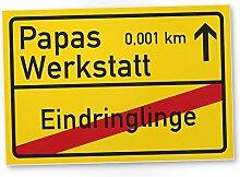 Papas Werkstatt Ortsschild (30 x 20 cm), Schild -