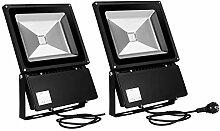 Papasbox 2er LED 100W Strahler Außen, Superhell