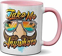 PAPAYANA - 1006 - TAKE-ME-ANYWHERE - Beidseitig Bedruckte Tasse 325ml 11oz - Große Farbauswahl - Pink