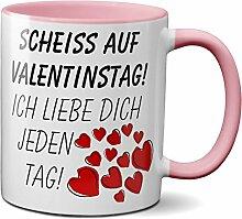 PAPAYANA - 1015 - SCHEISS-VALENTINSTAG - Beidseitig Bedruckte Tasse 325ml 11oz - Große Farbauswahl - Pink