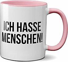PAPAYANA - 1016 - ICH-HASSE-MENSCHEN - Beidseitig Bedruckte Tasse 325ml 11oz - Große Farbauswahl - Pink