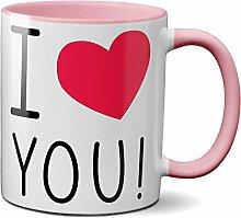 PAPAYANA 1031 - I-Love-You - Beidseitig Bedruckte Tasse 325ml 11oz - Große Farbauswahl - Pink