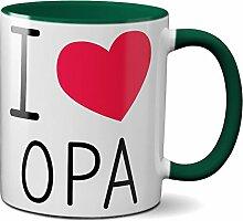 PAPAYANA - 1033 - I-LOVE-OPA - Beidseitig Bedruckte Tasse 325ml 11oz - Große Farbauswahl - Grün