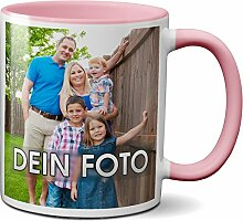 PAPAYANA - 1070 - Personalisierte-FOTOTASSE - Selbst Gestalten - Beidseitig Bedruckt - Tasse 325ml 11oz - Große Farbauswahl - Pink