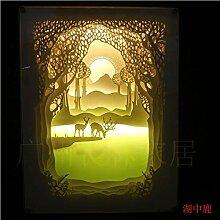Paper-Cut Licht Schatten Papier schnitzen Lampe