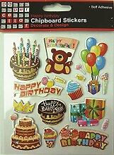 Paper Vaulted Cellar Buchstaben-Dekoration, Motiv Happy Birthday und Holzschrauben Design mehrfarbig