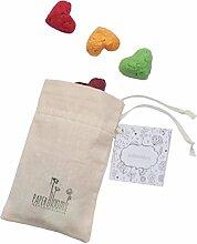 PAPERBLOOMS – 10 Herz Seedbombs in bunt im zauberhaften Baumwollsäckchen – Die originelle Ökö Geschenkidee für Geburtstag, Muttertag, Hochzeit oder Weihnachten für Mama, Oma, die Frau, Freundin