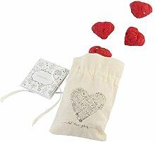 PAPERBLOOMS – 10 Herz Seedbombs in rot im zauberhaften Baumwollsäckchen – Die originelle Ökö Geschenkidee für Geburtstag, Muttertag, Hochzeit oder Weihnachten für Mama, Oma, die Frau, Freundin