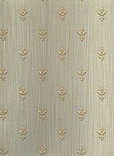 Papier Tapete Design Klassisch mit Lilien Gold glänzend von cm 2,5und Boden Effekt Stoff grün mit leichte Farbtöne blau und Gold. Tapete hoch waschbar in schwerem Vinyl Ornamenta 95403