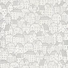 Papier Tapete Moderne mit Position von Skizzen von Case Grau glänzend auf Boden Weiß Pretty Lili–PrLi 69219099