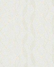 Papier Tapete Moderne Weiß mit Zeichnungen abstrakt Wellen Reflexionen glänzend beige. Atmosphäre 258123