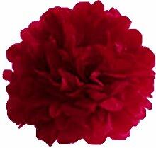 Papierblumenkugel - TOOGOO(R) 8 Stuecke Quaste Blumenball Dekoration DIY Weihnachts Hochzeitsdekoration (rot, 38 cm)