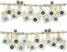 Papierdrachen 24 Adventskalender Leinensäckchen