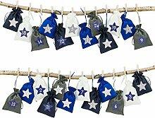 Papierdrachen 24 Adventskalender Stoffsäckchen