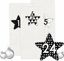 Papierdrachen Adventskalender Set - 24 weiße