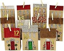 Papierdrachen DIY Adventskalender Kraftpapier Set