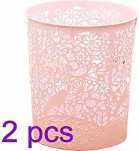 Papierkörbe, CT-Tribe 2 Stücke Papierkörbe Kunststoff Mülleimer Klein Waste Bin Garbage Bin Trash Can 25×22×18 cm - Hell-Pink
