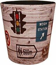 Papierkörbe, Foxom Retro PU Leder Abfalleimer Mülleimer Papierkorb für Büro/Badezimmer/küche/Schlafzimmer, Signallampe