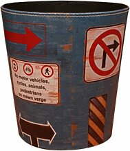 Papierkörbe, Foxom Retro PU Leder Abfalleimer Mülleimer Papierkorb für Büro/Badezimmer/küche/Schlafzimmer, Wegweiser