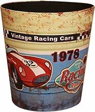 Papierkörbe, Foxom Retro PU Leder Abfalleimer Mülleimer Papierkorb für Büro/Badezimmer/küche/Schlafzimmer, Rennwagen 1978